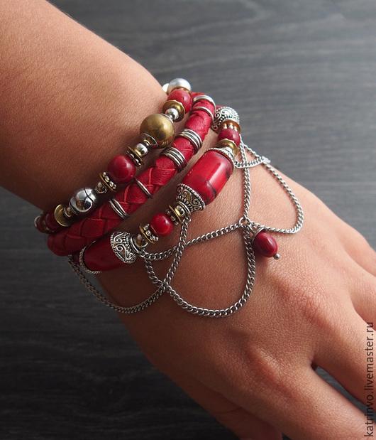 """Браслеты ручной работы. Ярмарка Мастеров - ручная работа. Купить Коралловый браслет в восточном стиле """"Мехенди"""". Красный браслет. Handmade."""