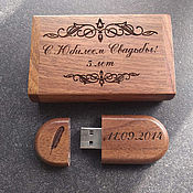 Сувениры и подарки handmade. Livemaster - original item Wooden flash drive with 32 GB engraving (memory card, souvenir). Handmade.