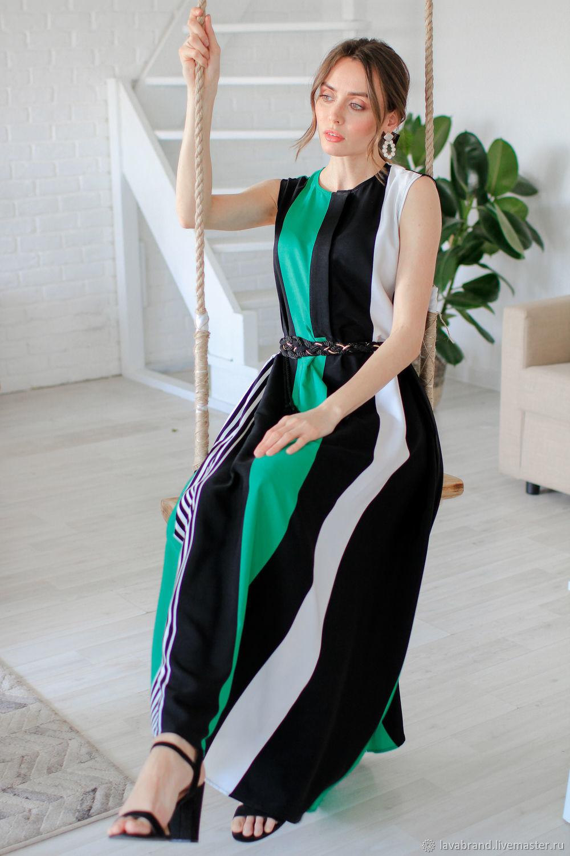 89c16a94196ec74 Длинное летнее зеленое платье – купить в интернет-магазине на ...