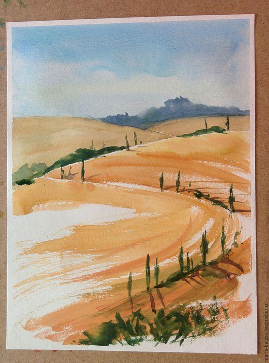 Пейзаж ручной работы. Ярмарка Мастеров - ручная работа. Купить Акварель Тоскана. Handmade. Оранжевый, голубой, Поля, пейзаж
