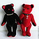 Мишки Тедди ручной работы. Ярмарка Мастеров - ручная работа. Купить мишки Red & Black. Handmade. Ярко-красный