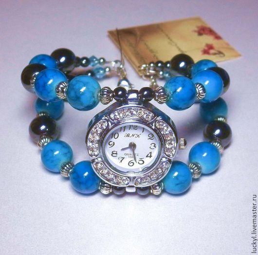 """Часы ручной работы. Ярмарка Мастеров - ручная работа. Купить Часы-браслет """"Лазурь"""" (браслет с гематитом, часы наручные). Handmade."""