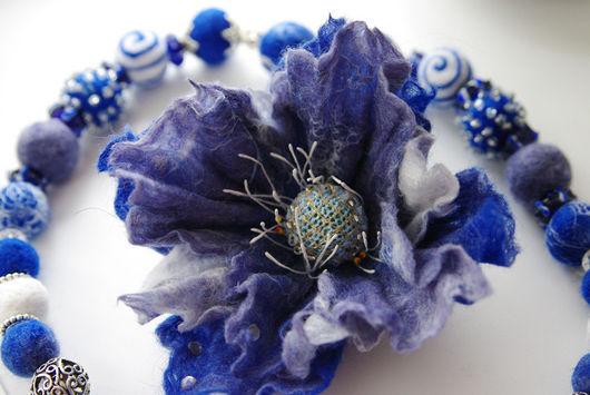 """Броши ручной работы. Ярмарка Мастеров - ручная работа. Купить Брошь """"Синяя сказка"""". Handmade. Брошь, цветок из шерсти"""