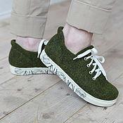 """Обувь ручной работы. Ярмарка Мастеров - ручная работа Валяные кеды """"Зеленый Смузи"""". Handmade."""