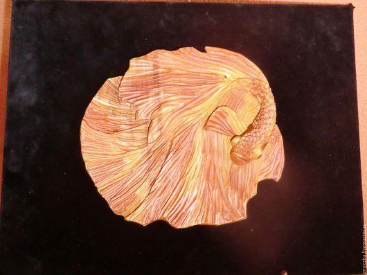 Фантазийные сюжеты ручной работы. Ярмарка Мастеров - ручная работа. Купить Эстамп из дерева Золотая рыбка Художественная резьба. Handmade.