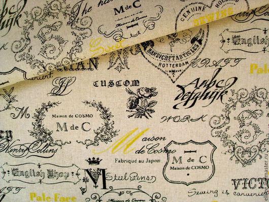 """Шитье ручной работы. Ярмарка Мастеров - ручная работа. Купить Лен  """"Викторианские надписи"""". Handmade. Ткани, винтаж, ткани для сумок"""