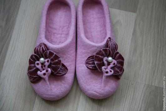"""Обувь ручной работы. Ярмарка Мастеров - ручная работа. Купить Тапочки валяные """"Орхидея"""". Handmade. Розовый"""