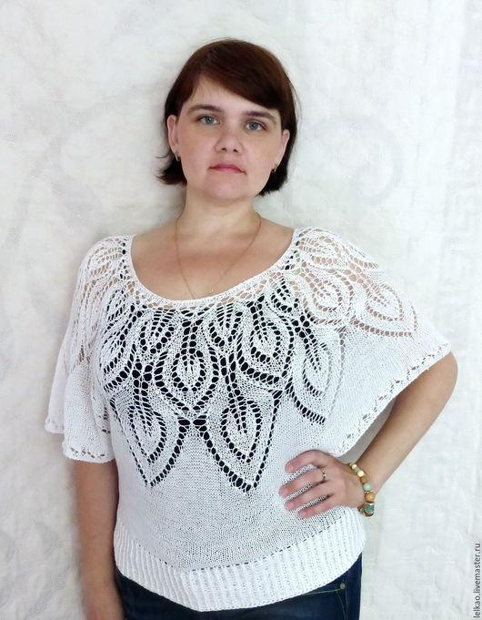 белый, ажурная кофточка, ажурный пуловер, ажурное пончо, нарядная кофточка, нарядная блуза, ажурная блузка, воздушный пуловер, пончо вязаное, женский пуловер, Легкая кофточка, кофта вязаная женская,