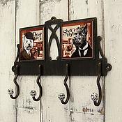 Для дома и интерьера ручной работы. Ярмарка Мастеров - ручная работа Вешалка металлическая с керамическими вставками Шерлок. Handmade.