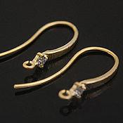 Материалы для творчества handmade. Livemaster - original item Earrings hooks 20 mm with cubic Zirconia matte gold plated u. Korea (3147. Handmade.