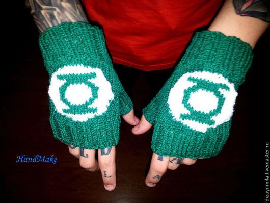 Варежки, митенки, перчатки ручной работы. Ярмарка Мастеров - ручная работа. Купить Вязаные митенки Зеленый фонарь. Handmade. Зеленый