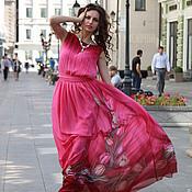 """Дизайнерское  платье батик  шёлковое"""" Розовые тюльпаны"""""""