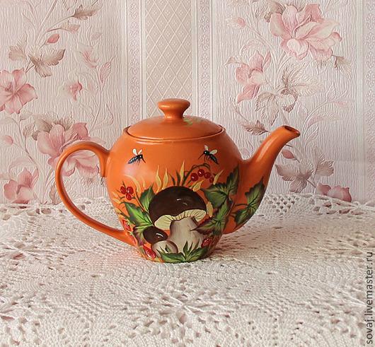 """Чайники, кофейники ручной работы. Ярмарка Мастеров - ручная работа. Купить Керамический заварочный чайник с росписью """"Лето в деревне """". Handmade."""