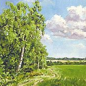 Картины и панно handmade. Livemaster - original item Birch.Road in field Landscape Canvas oil 30на40. Handmade.
