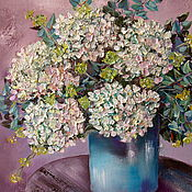 Картины и панно handmade. Livemaster - original item White hydrangea in mint colours oil painting. Handmade.