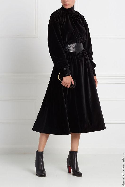 Платья ручной работы. Ярмарка Мастеров - ручная работа. Купить Бархатное платье миди. Handmade. Комбинированный, классический стиль, бархат