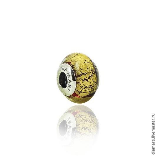 Арт. 06-0001. Серебряный шарм бусина `Античное золото`.