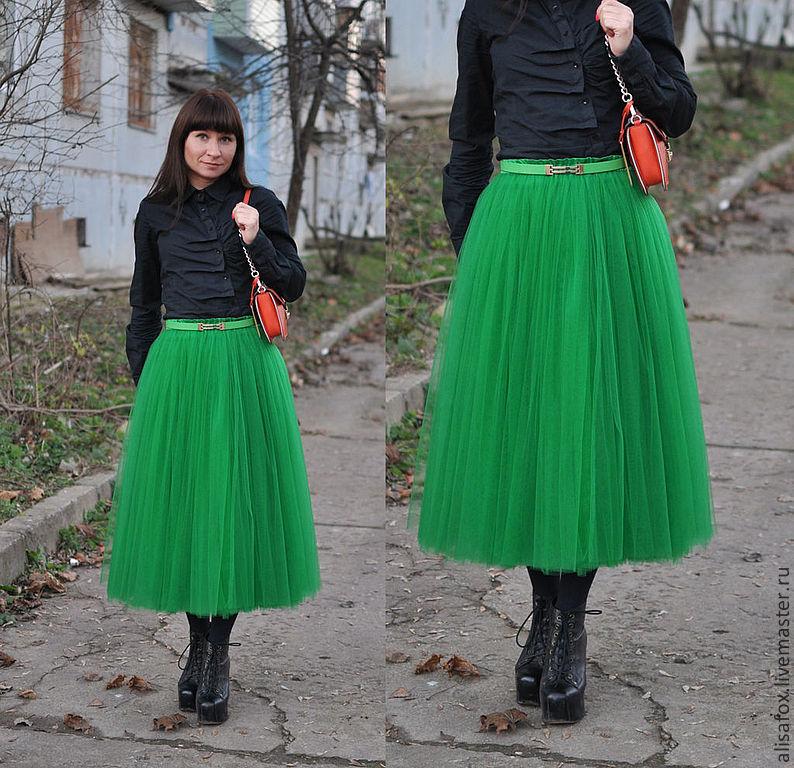 Зеленая фатиновая юбка