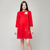 Одежда ручной работы. Ярмарка Мастеров - ручная работа красное платье Белый мак. Handmade.