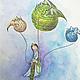 """Фантазийные сюжеты ручной работы. Ярмарка Мастеров - ручная работа. Купить Картина акварелью и маркерами """"Сказочное хобби"""". Handmade. Синий"""