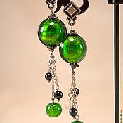 Украшения ручной работы. Ярмарка Мастеров - ручная работа Прекрасные зеленые Серьги из муранского стекла. Handmade.