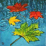 """Картины и панно ручной работы. Ярмарка Мастеров - ручная работа Картина маслом """"Листья на воде"""". Handmade."""