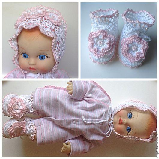 Для новорожденных, ручной работы. Ярмарка Мастеров - ручная работа. Купить Комплект Кружевной бело-розовый. Handmade. Белый