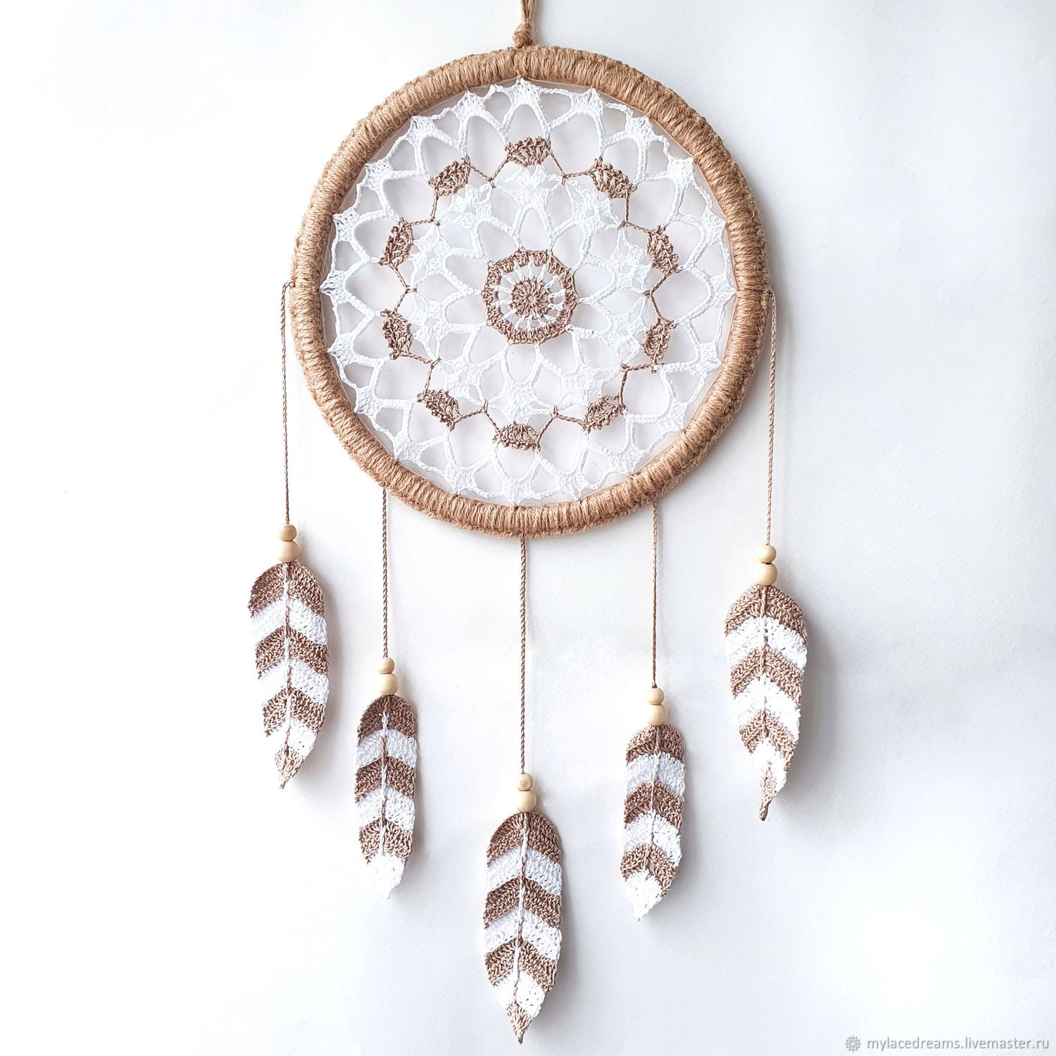 White and beige lace dreamcatcher with crocheted feathers, Dream catchers, St. Petersburg,  Фото №1