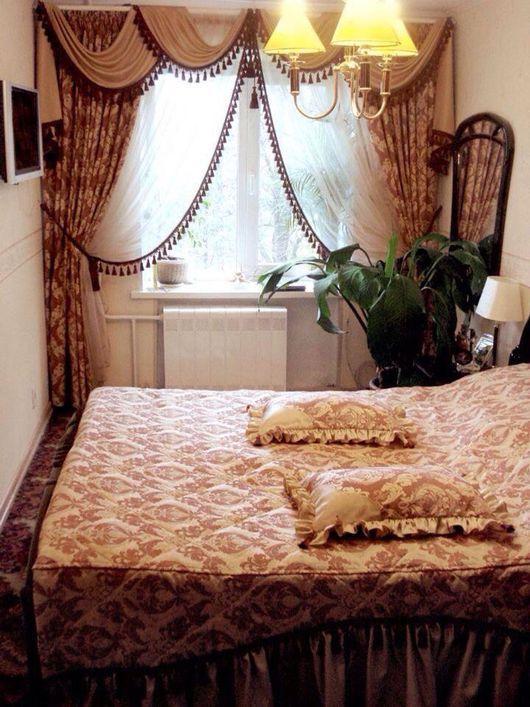 Текстиль, ковры ручной работы. Ярмарка Мастеров - ручная работа. Купить Шторы, покрывало и подушки. Handmade. Ламбрекен, покрывало, рюши