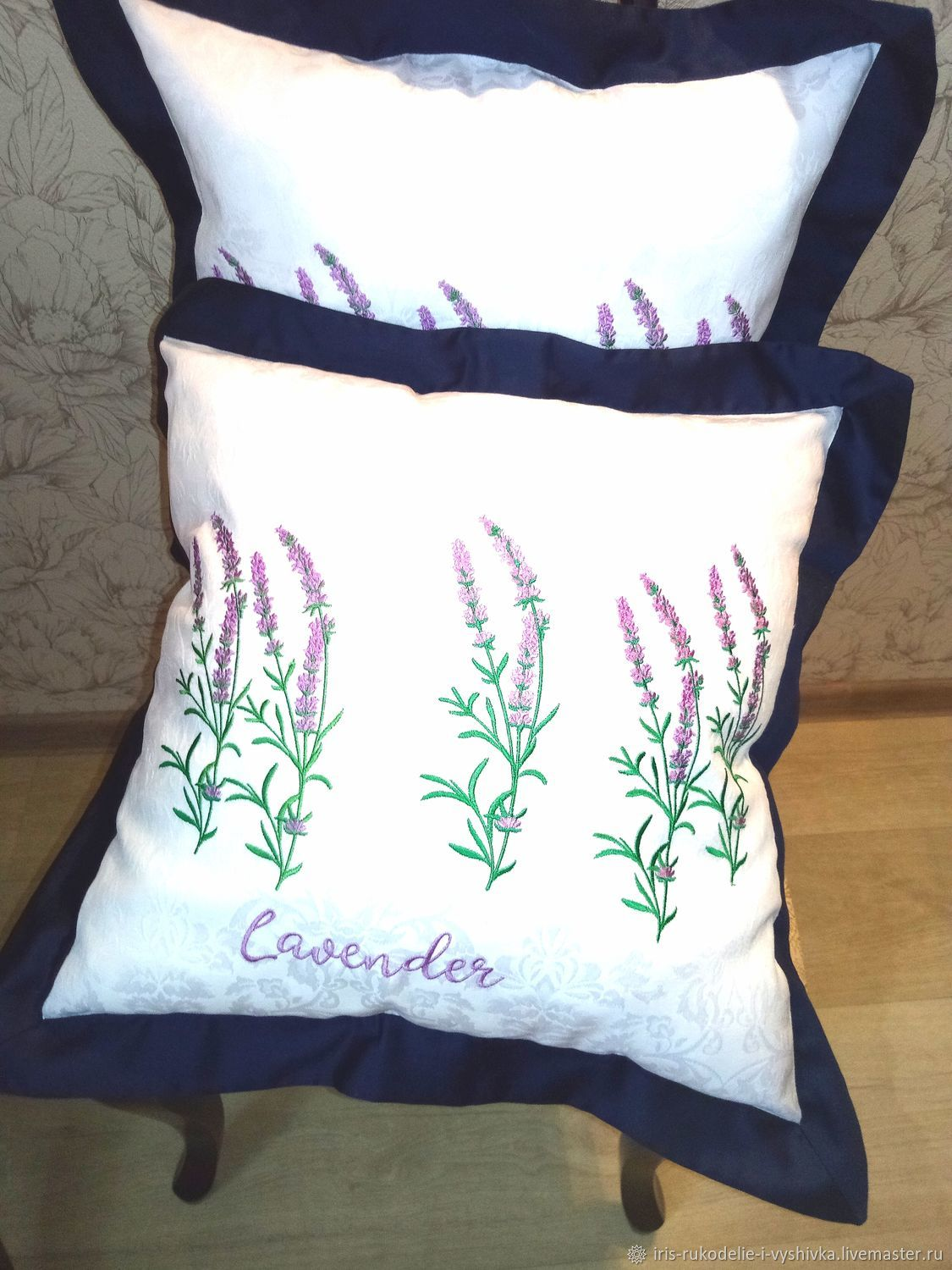 Pillows:Pillow with lavender embroidery, Pillow, Gatchina,  Фото №1