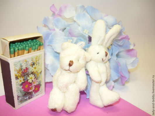 Куклы и игрушки ручной работы. Ярмарка Мастеров - ручная работа. Купить Мини мишка и зайчик - игрушки для кукол. Handmade.