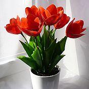 Цветы и флористика ручной работы. Ярмарка Мастеров - ручная работа Тюльпаны (алые) полимерная глина. Handmade.
