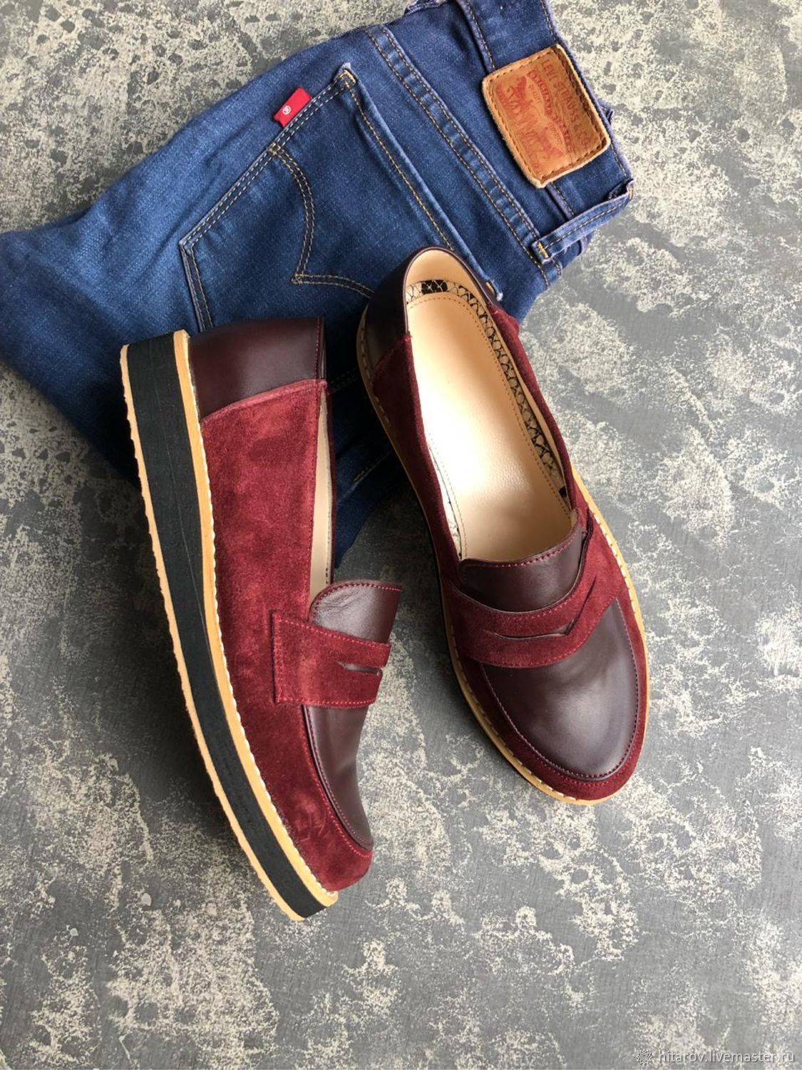 Pumps: maroon suede/maroon leather, Shoes, Moscow,  Фото №1