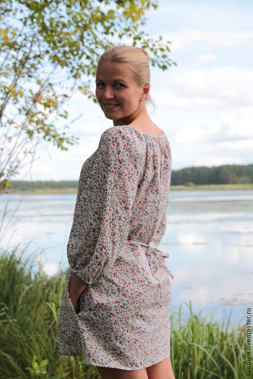 Туничка в цветочек с кармашками, Платья, Киров,  Фото №1