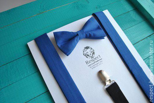 """Галстуки, бабочки ручной работы. Ярмарка Мастеров - ручная работа. Купить Бабочка и подтяжки комплект """"Классика"""" синий / галстук-бабочка, помочи. Handmade."""