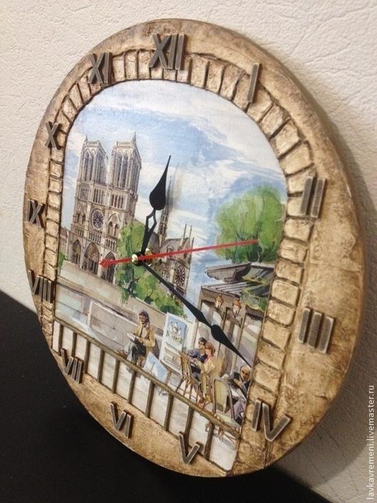 """Часы для дома ручной работы. Ярмарка Мастеров - ручная работа. Купить Часы """"Встретимся в кафе у Нотр дам де пари..."""". Handmade."""