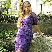 Одежда ручной работы. Ярмарка Мастеров - ручная работа Платье вязаное ирландское кружево Фиолетовые сны с рукавами. Handmade.