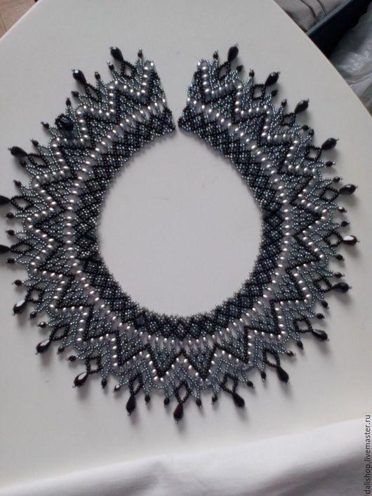 Колье, бусы ручной работы. Ярмарка Мастеров - ручная работа. Купить Ожерелье. Handmade. Черный, воротничок из бисера