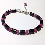 Украшения handmade. Livemaster - original item Men`s bracelet with black onyx and ruby. Handmade.