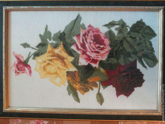 Картины цветов ручной работы. Ярмарка Мастеров - ручная работа. Купить Розы. Handmade. Коралловый, розы, розовый, картина, вышивка