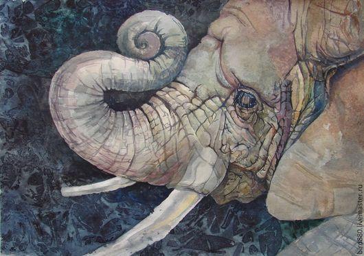 """Животные ручной работы. Ярмарка Мастеров - ручная работа. Купить Авторская картина акварелью  """"Маленький слоник"""". Handmade. Животные"""