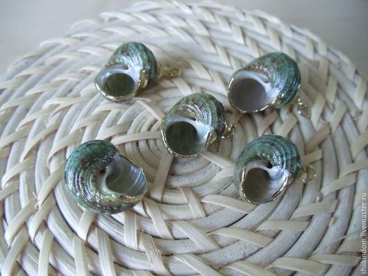Для украшений ручной работы. Ярмарка Мастеров - ручная работа. Купить Подвески зеленые ракушки в позолоте. Handmade. Зеленый