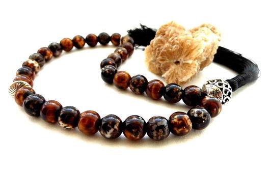 Четки ручной работы. Ярмарка Мастеров - ручная работа. Купить Четки из африканского агата, 33 камня, шелк. Handmade. Четки