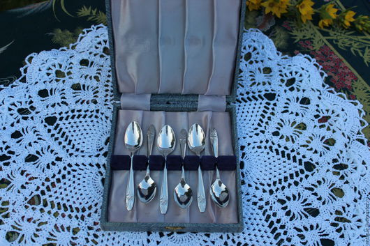 Винтажная посуда. Ярмарка Мастеров - ручная работа. Купить -10%Винтажные  ложки серебряное покрытие,в оригинальном кейсе,Англ. Handmade. Посеребрение