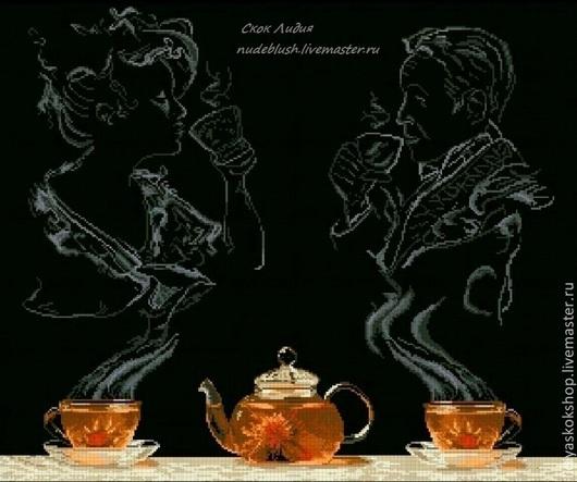 """Натюрморт ручной работы. Ярмарка Мастеров - ручная работа. Купить Картина """"Чай вдвоем """" Вышивка крестом.. Handmade. чай"""