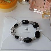 Украшения handmade. Livemaster - original item Bracelet of black onyx and crystal the secrets of the Chanel. Handmade.