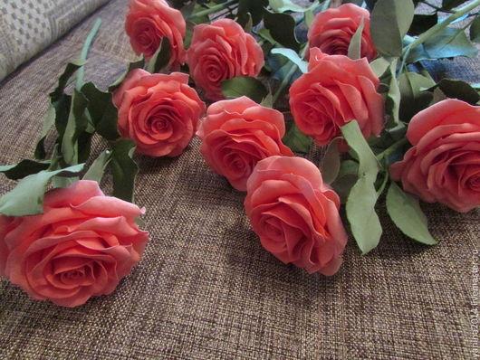 Цветы ручной работы. Ярмарка Мастеров - ручная работа. Купить Коралловые розы. Керамическая флористика.. Handmade. Коралловый, букет цветов