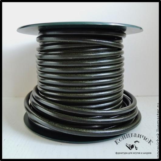 Для украшений ручной работы. Ярмарка Мастеров - ручная работа. Купить Темно-Болотный кожаный шнур 5 мм Испания. Handmade.