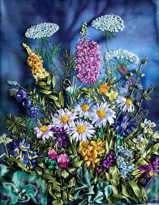 """Картины цветов ручной работы. Ярмарка Мастеров - ручная работа. Купить Картина """" Полевые цветы ночью""""ю Вышивка лентами. Украшение интерьера. Handmade."""
