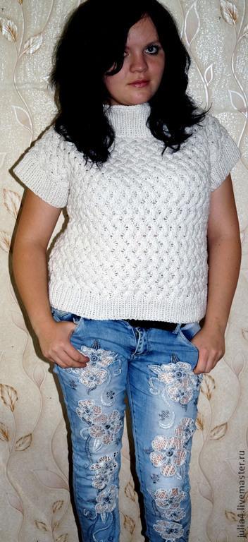 Кофты и свитера ручной работы. Ярмарка Мастеров - ручная работа. Купить Пуловер с короткими рукавами. Handmade. Белый, женская одежда